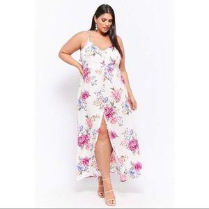 F21 Floral halter dress